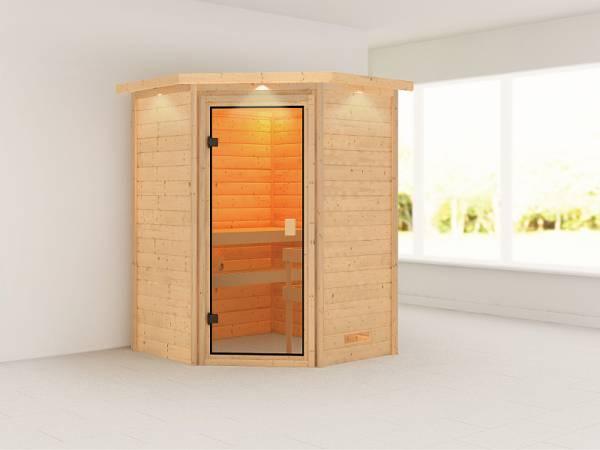 Karibu Woodfeeling Sauna Antonia mit Dachkranz 38 mm