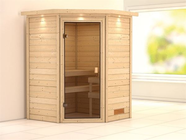 Karibu Sauna Franka 38 mm mit Dachkranz- ohne Ofen