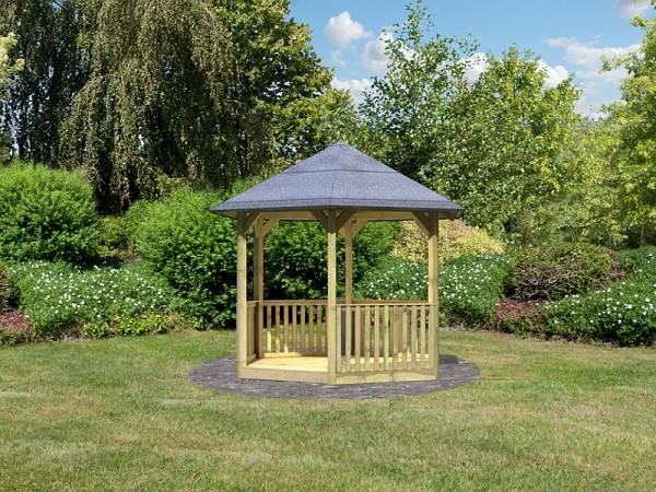 Karibu 6-Eck Pavillon Eco Madrid mit Brüstung Set