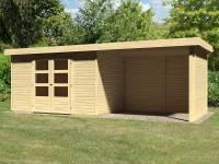 Karibu Woodfeeling Gartenhaus Askola 4 mit Anbaudach 2,75 Meter, Seiten- und Rückwand