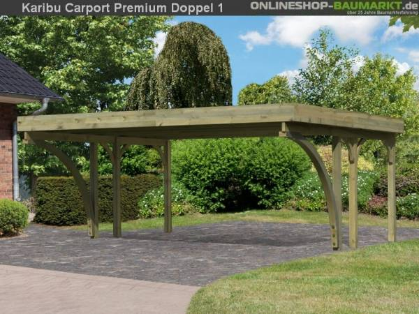 Karibu Carport Premium Doppel 1 mit 2 Einfahrtsbogen kdi