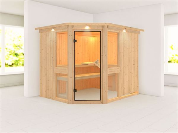 Amelia 3 - Karibu Sauna ohne Ofen - mit Dachkranz -