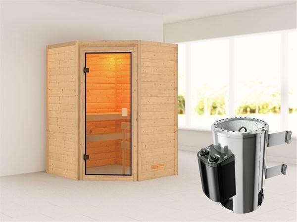 Karibu Sauna Antonia mit 3,6 kW Ofen integr. Strg ohne Dachkranz 38 mm