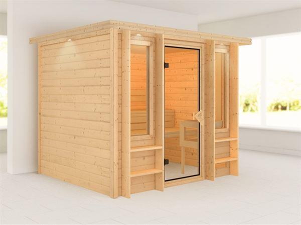 Karibu Sauna Ilona mit Dachkranz 40 mm Premium- ohne Ofen