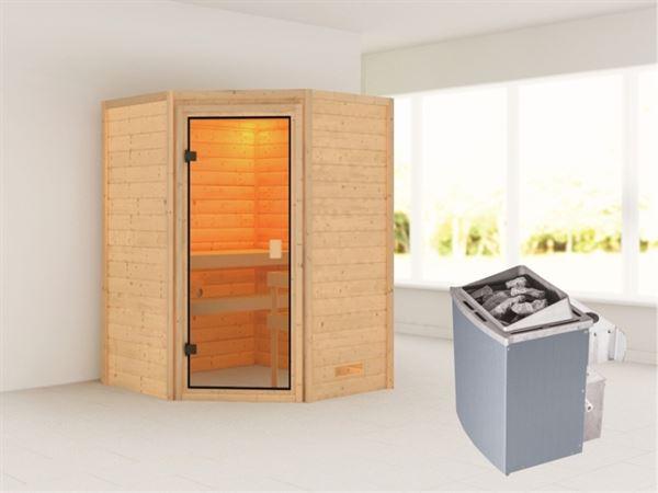 Karibu Sauna Antonia mit 9 kW Ofen integr. Strg ohne Dachkranz 38 mm