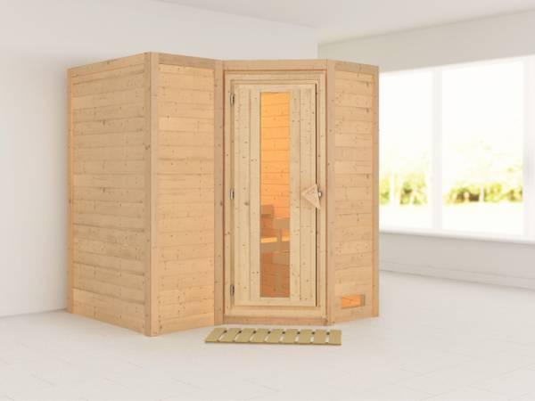Karibu Sauna Sahib 1 ohne Ofen, ohne Dachkranz, mit energiesparender Saunatür