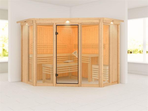 Karibu Sauna Alcinda mit Dachkranz- ohne Ofen 68 mm