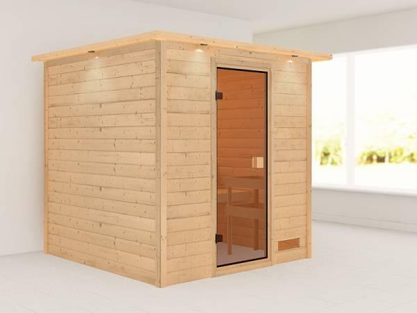 Karibu Woodfeeling Sauna Jara mit Dachkranz 38 mm
