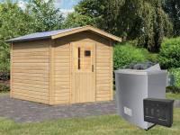 Karibu Aktions-Saunahaus OSB I mit Vorraum (baugleich Birka) - 9 kW Ofen ext. Strg