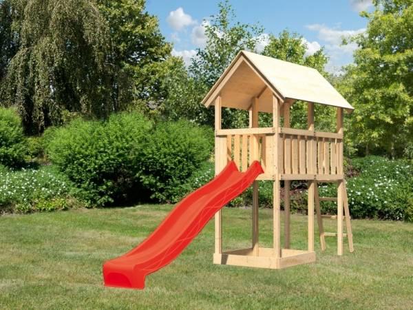 Akubi Spielturm Danny mit Rutsche in rot