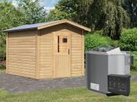 Karibu Aktions-Saunahaus OSB I mit Vorraum (baugleich Birka)- 9 kW Bioofen ext. Strg